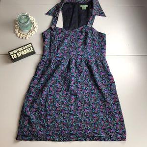 Anthropologie Maple Navy Blue Floral Print Dress